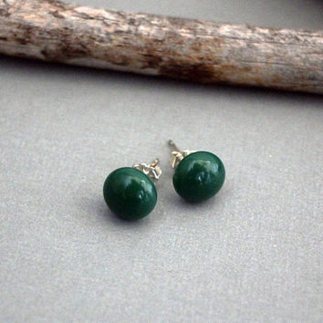 Forest Green Earrings - Green Stud Earrings - Green Earrings - Everyday Earrings - Glass Stud Earrings - Sterling Silver Earrings Studs