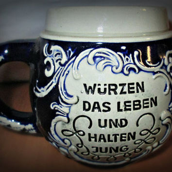 "SALE! German Beer Stein, Cobalt Blue Mug,  ""Froher sinn und frischer trunk"", Bar Decor, Kitchen Decor, German Pottery, Ceramic"