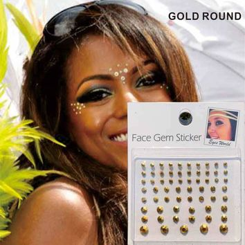 FG08 Gold Face Self Adhesive Rhinestones Sticker Performance Makeup Body Art Accessories Festival Party Birthday Gift For Her