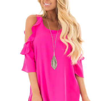 Hot Pink Cold Shoulder 3/4 Sleeve Top with Ruffle Detail