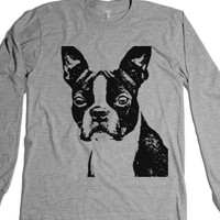 Boston Terrier-Unisex Heather Grey T-Shirt