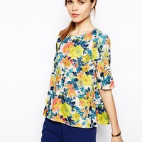 ASOS Textured T-Shirt in Large Floral Print - Multi
