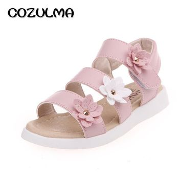COZULMA Girls Sandals Summer Shoes Flowers Roman Gladiator Shoes Tassel Toddler Little Kids Big Kids Princess Sandals Child Shoe