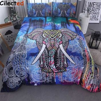 Cilected India Elephant Print Duvet Cover Set With Pillowcase 3pcs Bedding Set Bohemian Design Double Queen King Bed Bedline