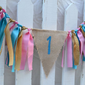glitter high chair banner -  gold high chair banner - 1st birthday banner - pink and gold banner - pink and gold birthday