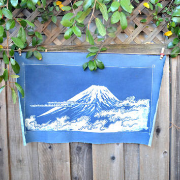 Vintage Japanese Katazome Fabric Picture of Mount Fuji,  Indigo Fabric Panel, Wall Hanging, Textile Art