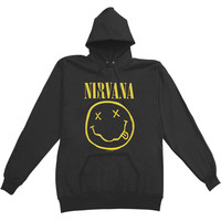 Nirvana Men's  Smiley Hooded Sweatshirt Black Rockabilia