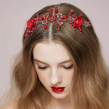 Red Bridal Crown Crystal Beaded Rose Floral Wreath Wedding Tiara Godness Headband women Hair Jewellry Accessoreis NL036