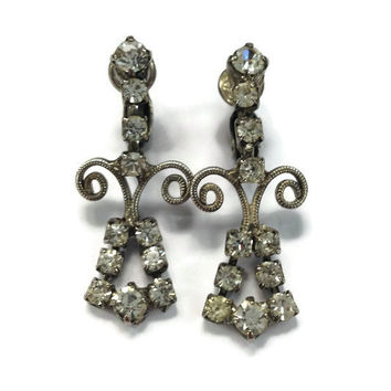 1950s Earrings / Vintage Silver Tone and Rhinestone Statement Dangle Drop Chandelier Clip Earrings, Wedding Jewelry, Bridal Jewelry