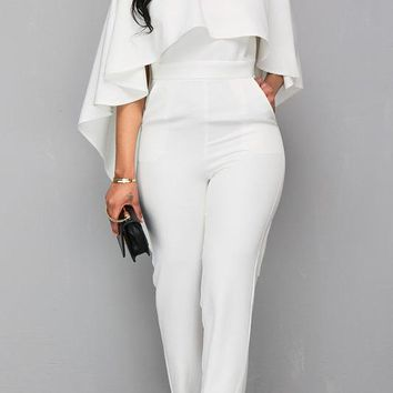 A| Chicoth Sexy Backless Cape Sleeve Jumpsuit