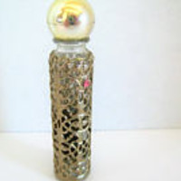 Gold Ormolu Perfume Bottle - Purse Flacon - Rhinestone Highlights - Revlon Intimate -  1 Fluid Ounce Size