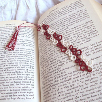 CLEARANCE Tudor Bookmark in Tatted Lace with Tassel , Red , Cream - Eva