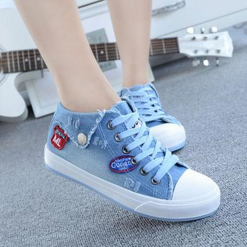 Fashion Washing Denim Canvas for Women Jeans Canvas Shoes 5 Colors