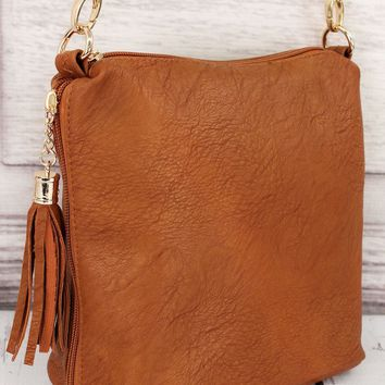 LIGHT BROWN FAUX LEATHER DOUBLE TASSEL ZIP CROSSBODY BAG
