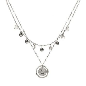 Layered Circle and Coin Charm Necklace
