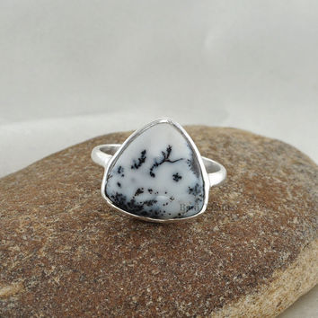 Silver Ring, Gemstone ring, Dendritic Opal Ring, 10mm Trillion Ring, Stone Ring, 925 Sterling Silver Bezel Ring, Ring Jewelry - #1138