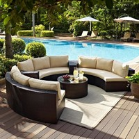 Factory direct sale Outdoor Lounge Furniture 6 Piece Wicker Curved Conversation Sofa S