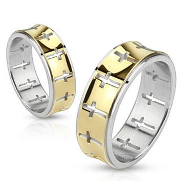 Cut Out Crosses On Gold IP Center Stainless Steel Ring