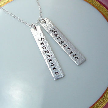 SALE - 10% off Personalized Sterling Silver Bar Necklace .  Two Names, Twins, Nameplate, Name, Rectangle Tag, Modern Bridesmaid Gift