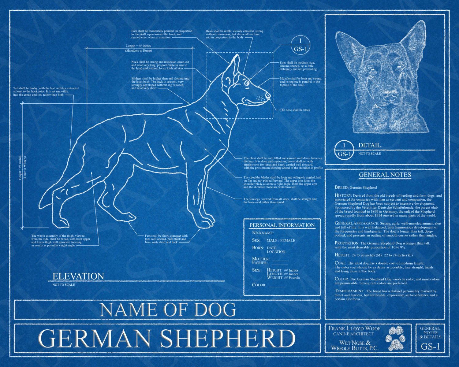 Customized boxer dog blueprint boxer from wet nose wiggly customized german shepherd blueprint german shepherd art german shepherd wall art german shepherd malvernweather Gallery