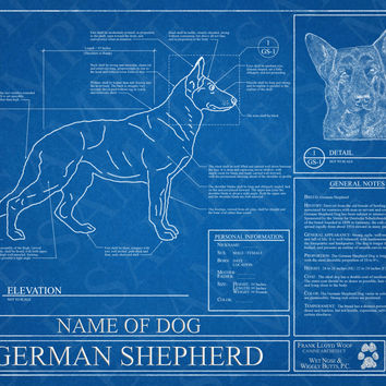 Customized German Shepherd Blueprint / German Shepherd Art / German Shepherd Wall Art / German Shepherd Poster / German Shepherd Print