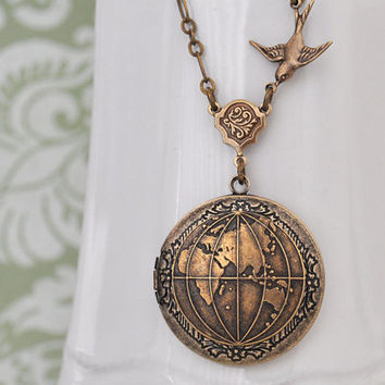 brass locket necklace, the world locket, peace locket, map locket, ONE  WORLD,  antiqued brass globe  locket necklace