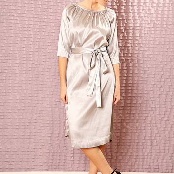 Custom classic Bridesmaids dress - Made to order Satin dress - Modest  midi dress with sleeves
