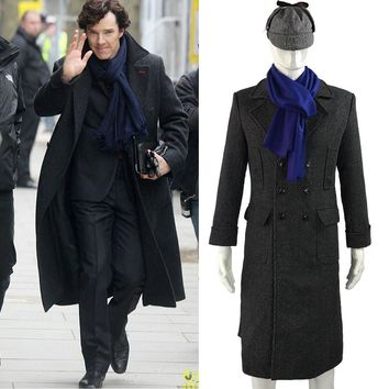 Sherlock Holmes Tv Long Wool Winter Mens Cape Coat Jacket Cosplay Costumes