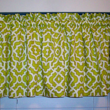 Cafe Curtain Valance / Waverly Lattice Aloe  - Kitchen, Bath, Laundry, Bedroom, living room-Window Treatment