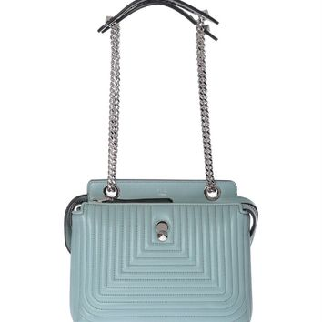 Fendi Dotcom Click Pale Blue Small Quilted Lambskin Leather Chain Satchel Bag Silver Hardware 8BN299
