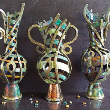 Set three big raku pottery vases - The three Gorgons - Free Shipping