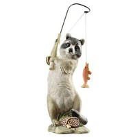The Masked Fisherman Raccoon Statue Garden Sculpture Fishing Furry