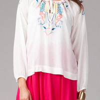 BIRSTALL EMBROIDERED PEASANT TOP