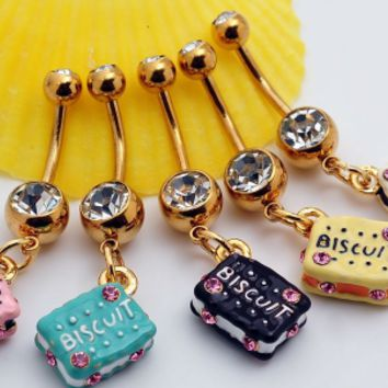 Lovely biscuit zircon belly button ring antiallergic Navel Belly Ring-0428-Gifts box