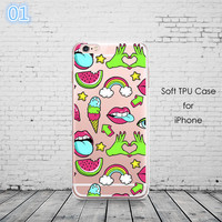 Graffiti Sexy Girl Kylie Lips Phone Case For iPhone 6 6S 5 5s SE 7 7Plus Transparent Silicone Carcasas Fundas Capinha -0329