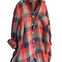 Women's Cotton Blouse T-Shirt Tops Red Plaid Casual Loose Fitting