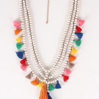Festive Beaded Tassel Necklace Set