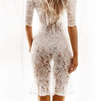 Sexy Women White Lace Middle Sleeve Dress Package Hip Skirt