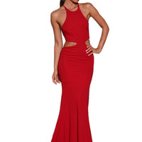 Red Maxi Dress with Self-tie Detail not available