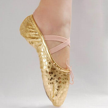 New Gold Silver Size 23~44 Children Soft Sole Girls Flats Shoes Women Ballet Shoes For Kids Adult Ladies #F6225