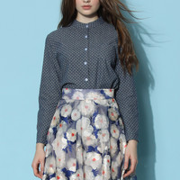 Cute Dots Denim Shirt  Blue