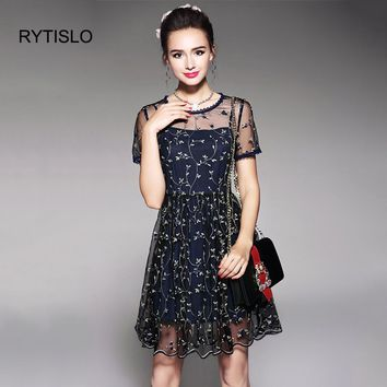 RYTISLO Vintage Embroidery Floral Mesh Slip Dress 2 Piece Sets 2018 Woman Spaghetti Strap Short Sleeve Lace Dresses Party Wear