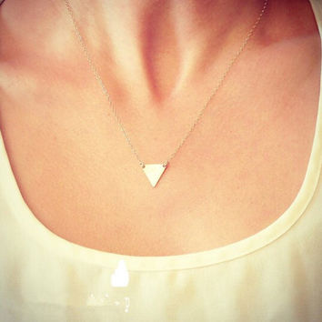 18K Gold Plated Triangle Simple Minimal Minimalist Layering Geo Charm Dainty Necklace