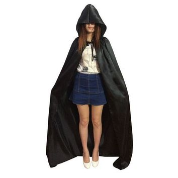 LMFN3C Fancy Halloween Costumes Adult Child Hooded Cloak Witche Vampires Robe Gothic Hood Masquerade Halloween Cosplay Dress