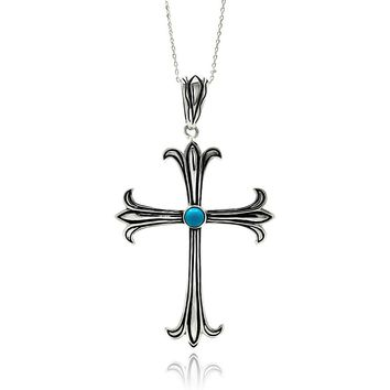 Rhodium Plated Brass Cross Turquoise Center Pendant Necklace