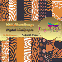 80% OFF Sale WILD About Orange Digital Wallpapers for Mobile Devices, Instant Download, Zebra Leopard Animal Print