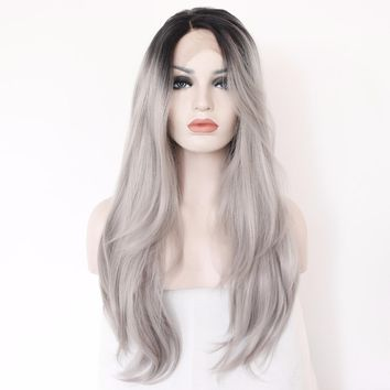 Tatiana- L Lace Part Black Ombre Grey Heat Resistant Synthetic Lace Front Wig
