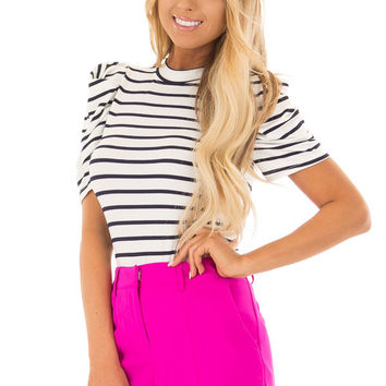 Navy and White Striped Bodysuit with Puff Sleeves