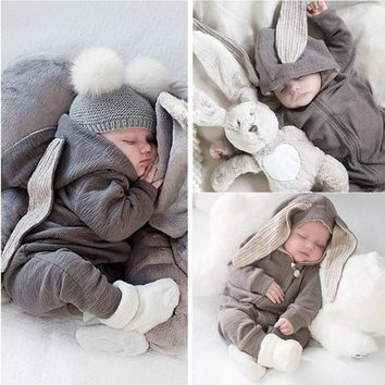 Kids Baby Boys Girls Warm Infant Romper Jumpsuit Cute Rabbite Ear Gray Hooded Cotton Clothes Outfits Autumn