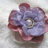 Romantic Ivory Dusty Rose and Lavender Layered Bridal Flower Hair Clip Bride Mother of the Bride Bridesmaid with Pearl and Rhinestone Accent